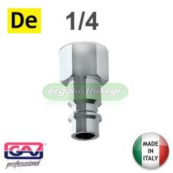 "GAV Ταχυσύνδεσμος αέρα αρσενικός με θηλυκό σπείρωμα 1/4"" (Γερμανικού τύπου)"