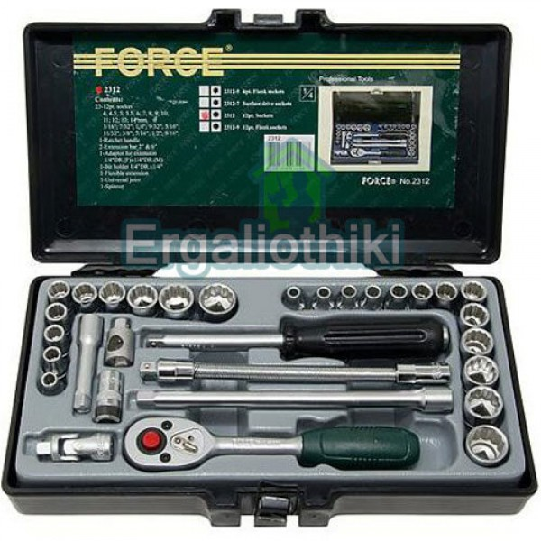 FORCE TOOLS 2312-5 Σειρά καρυδάκια 1/4 χιλιοστά και ίντσες